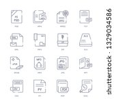 set of 16 thin linear icons... | Shutterstock .eps vector #1329034586