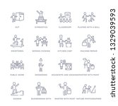 set of 16 thin linear icons... | Shutterstock .eps vector #1329039593