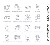 set of 16 thin linear icons... | Shutterstock .eps vector #1329039653