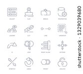 set of 16 thin linear icons... | Shutterstock .eps vector #1329039680