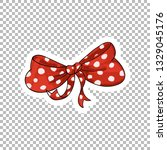 red dotted bow hand drawn...   Shutterstock .eps vector #1329045176