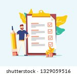 successful completion of... | Shutterstock . vector #1329059516
