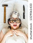 insane paranoid woman wears... | Shutterstock . vector #1329061433