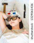 paranoid woman sleeps with... | Shutterstock . vector #1329061436