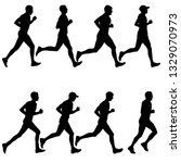 set of silhouettes. runners on... | Shutterstock . vector #1329070973