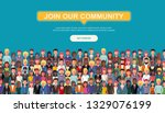 join our community. crowd of... | Shutterstock .eps vector #1329076199