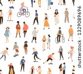 seamless pattern with people... | Shutterstock .eps vector #1329089696