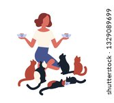 crazy cat lady feeding her pets.... | Shutterstock .eps vector #1329089699