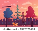 man is walking with a dog.... | Shutterstock .eps vector #1329091493