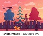 Stock vector man is walking with a dog cartoon vector illustration dog walker character design best friends 1329091493