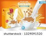 rye cereals in milk splash... | Shutterstock .eps vector #1329091520