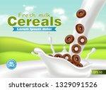 organic cereals in milk splash... | Shutterstock .eps vector #1329091526