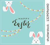 rabbit heads and lettering... | Shutterstock .eps vector #1329096440