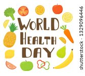 lettering world health day with ... | Shutterstock .eps vector #1329096446