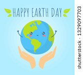 happy earth day. hands holding... | Shutterstock .eps vector #1329097703