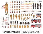 firefighter creation set or diy ... | Shutterstock .eps vector #1329106646