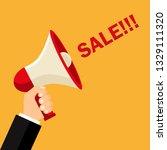 big sale.bullhorn in hand .... | Shutterstock .eps vector #1329111320