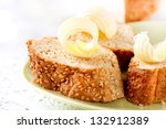 butter on a slice of bread.... | Shutterstock . vector #132912389