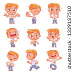 cute little boy with different... | Shutterstock .eps vector #1329137510