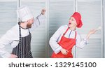 culinary battle concept. woman... | Shutterstock . vector #1329145100