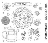 hand drawn tea time icon set. ... | Shutterstock .eps vector #1329164486