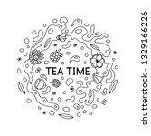 hand drawn tea time icon round... | Shutterstock .eps vector #1329166226