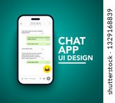 vector minimalist mobile chat... | Shutterstock .eps vector #1329168839