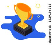 gold winner trophy cup icon.... | Shutterstock .eps vector #1329196313