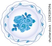 vintage blue roses flowers and... | Shutterstock .eps vector #1329209396