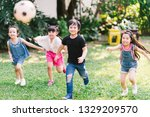 asian and mixed race happy... | Shutterstock . vector #1329209570