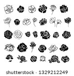 set of rose silhouettes design... | Shutterstock .eps vector #1329212249