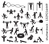 people exercising icon set.... | Shutterstock .eps vector #1329216449