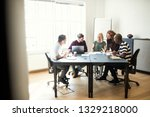 smiling group of diverse... | Shutterstock . vector #1329218000
