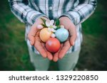 woman holding colorful easter... | Shutterstock . vector #1329220850