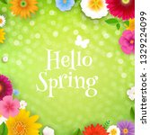 hello spring poster with... | Shutterstock .eps vector #1329224099