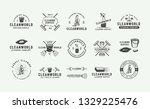 set of retro cleaning logo... | Shutterstock .eps vector #1329225476