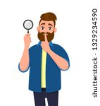 attractive bearded young man... | Shutterstock .eps vector #1329234590