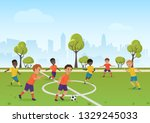 kids soccer game. boys playing... | Shutterstock . vector #1329245033