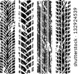 set of four car tire track... | Shutterstock .eps vector #132924539