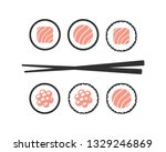 chopsticks with sushi roll.... | Shutterstock .eps vector #1329246869