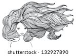 beautiful white girl with long... | Shutterstock .eps vector #132927890