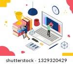 online education. video... | Shutterstock .eps vector #1329320429