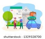 pensioners receive a bank loan... | Shutterstock . vector #1329328700