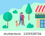 young people walking their dog... | Shutterstock . vector #1329328736