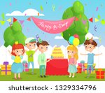 vector illustration of kids... | Shutterstock .eps vector #1329334796