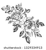 hand drawn floral bunch with... | Shutterstock . vector #1329334913