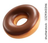 Small photo of Tasty Donut dessert with chocolate glossy glaze, isolated on white background. Sweet food concept with one round chocolate doughnut cake for your design and print. Donut front View.