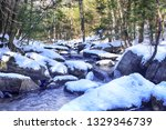 a snow covered stream flowing...   Shutterstock . vector #1329346739