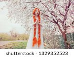 beautiful redhead girl with... | Shutterstock . vector #1329352523
