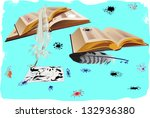 illustration with books ... | Shutterstock .eps vector #132936380